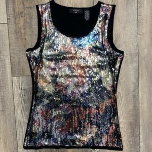 Verve Ami multicolor sequined sleeveless top